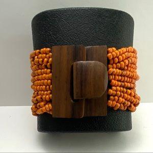 Vintage orange beaded wooden clasp bracelet